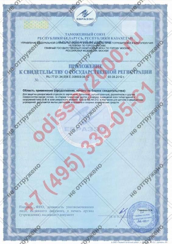 Приложение к свидетельству о государственной регистации